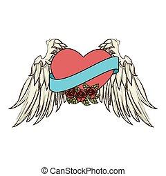 vektor, herz, flügel , geschenkband, ikone, rosen, liebe