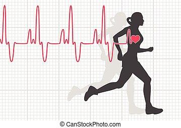 vektor, herzschlag, elektrokardiogramm, und, rennender , frau