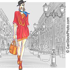 vektor, hezký, móda, děvče, prodávat se, jako, st....