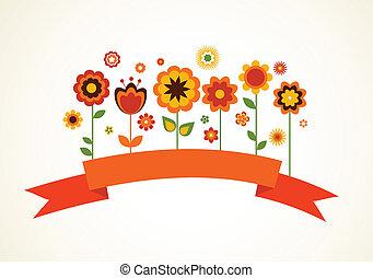 vektor, hilsen card, hos, blomster, og, bånd