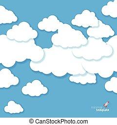 vektor, himmelsgewölbe, wolkenhimmel, blaues