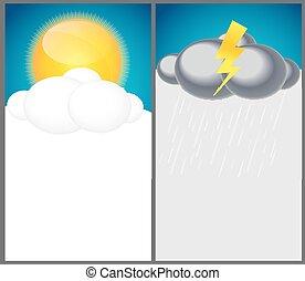 vektor, hintergrund, abbildung, wetter, regen, sonne, wolke