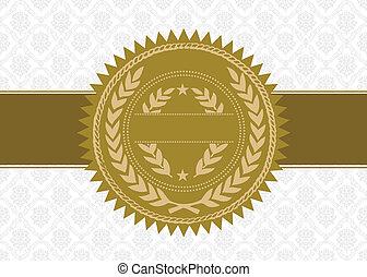 vektor, hintergrund, auszeichnung, goldene abdichtung