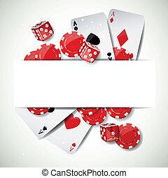vektor, hintergrund, mit, kasino, elemente
