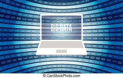 vektor, hintergrund, mit, laptop, groß, daten, ikone, und, binärcode