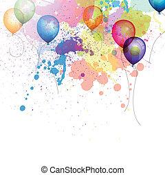 vektor, hintergrund, mit, luftballone