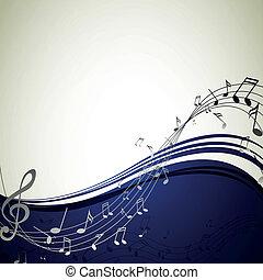 vektor, hintergrund, mit, musik merkt