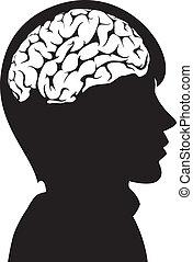 vektor, hjärna, huvud, hans, man