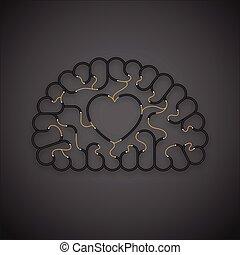 vektor, hjärta, begrepp, kärlek, elektrisk, kabel, 10, eps, symbol, utrymme, spridd färg, underteckna, mörk, hjärna, tråd, design, illustration, bakgrund, svart, avskrift