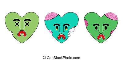 vektor, hjärta, död, kärleksaffär, love., zombie, grön, illustration
