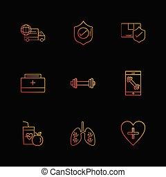 vektor, hjärta, medicinsk, sätta, skydda, sheild, lungan, eps, fitness, frukter, mat ikon, lastbil