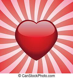 vektor, hjärta, på, retro, bakgrund