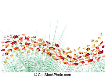 vektor, hjärtan, blomningen