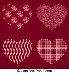 vektor, hjärtan