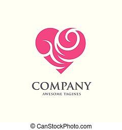 vektor, hjerte, abstrakt, logo, farve