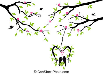vektor, hjerte, rede, træ, fugle