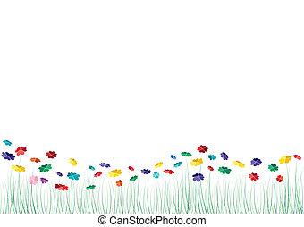 vektor, hjerter, blomster, forår