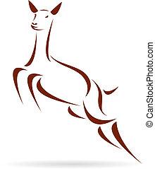 vektor, hjort, illustration