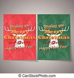 vektor, hjort, jul, bakgrund