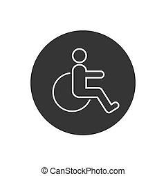 vektor, hjul, ikon, stol, symbol, illustration., fodra, ...