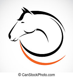 vektor, hovede af, hest