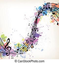 vektor, hudba, grafické pozadí, s, noticky