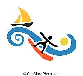 vektor, hullámlovas, vitorlázik, ábra, csónakázik