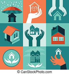 vektor, hus, forsikring