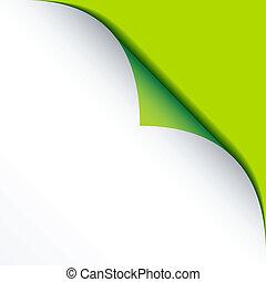 vektor, hvid, bended, avis, hos, grøn baggrund