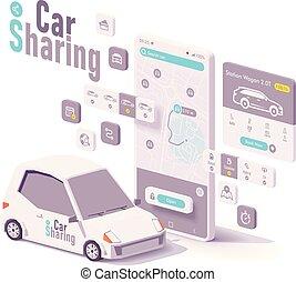 vektor, hyra, begrepp, bil, app, delning