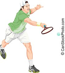 vektor, i, spiller tennis, finder, den, ball.