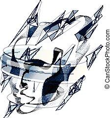 vektor, idő, fej, elkészített, részecske, pontozott, megvonalaz, értelem, digitális, lélek, mesterséges, lenget, particles, folyik, machine., ábra, emberi, technikai, elektronikus, lélek