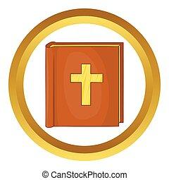 vektor, ikon, biblia