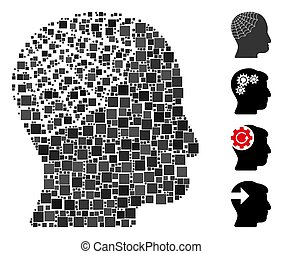vektor, ikon, fej, mózesi, conservator, derékszögben