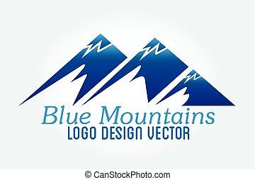 vektor, ikon, hegyek, jel