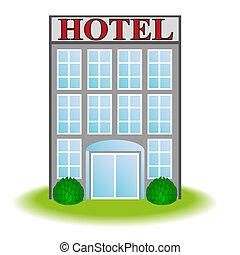 vektor, ikon, hotell