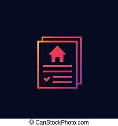 vektor, ikon hus, forsikring, kontrakt