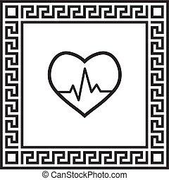 vektor, ikon, kardiogram, alatt, egy, keret, noha, egy,...