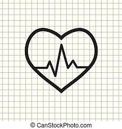 vektor, ikon, kardiogram