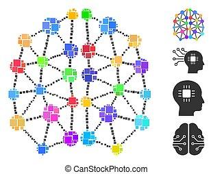 vektor, ikon, konstgjort, mosaik, fyrkant, hjärna