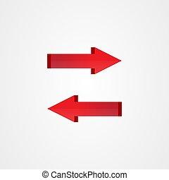 vektor, ikon, rättighet, vänster, design, pil