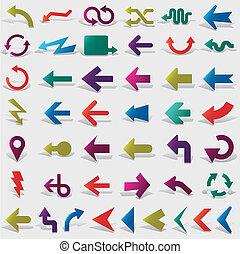 vektor, ikon, set:, pil