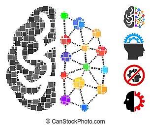 vektor, ikon, skapande, mosaik, fyrkant, hjärna