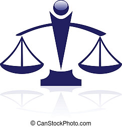 vektor, ikona, -, soudce, váhy