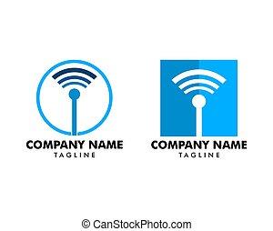 vektor, ikone, anschluss, wifi, satz, symbol, logo