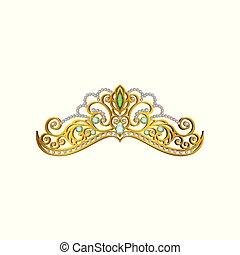 vektor, ikone, von, schöne , prinzessin, tiara, dekoriert, mit, blau grün, gemstones., glänzend, goldenes, crown., zubehörteil, von, königin