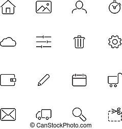 vektor, ikonok, helyett, háló, interface.