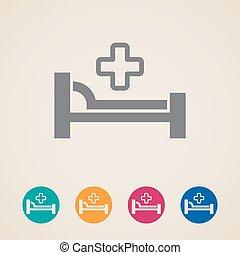 vektor, ikonok, noha, ágy, és, cross., kórház, aláír