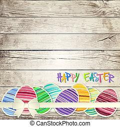vektor, ikra, háttér, fából való, húsvét