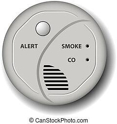 vektor, ild, røg, kul monoxid, detector, alarm